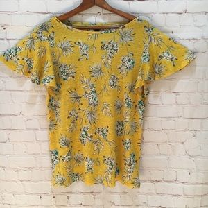 New Ann Taylor yellow floral flutter sleeve top M